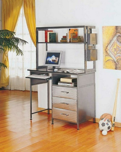 Desk-with-shelf-metal-shiny-surface-drawers-ball-image-yellow-curtains