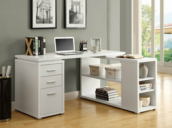 L-shaped-desk-with-shelf-white-laptop-books-bucket-drawers