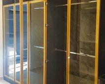 Hệ khung 1270 màu vàng kim loại sang trọng Bề mặt kính trong suốt